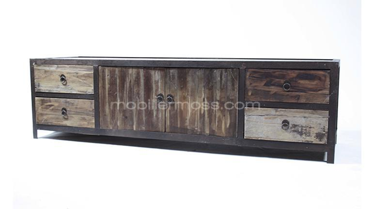 meuble tv industriel koroco 4 tiroirs 2 portes en bois et m tal mobilier moss. Black Bedroom Furniture Sets. Home Design Ideas