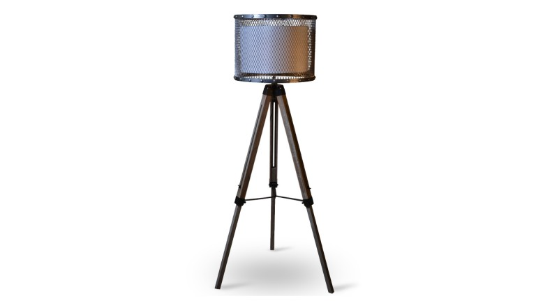 lampadaire tripod jery type industriel en bois et m tal mobilier moss. Black Bedroom Furniture Sets. Home Design Ideas