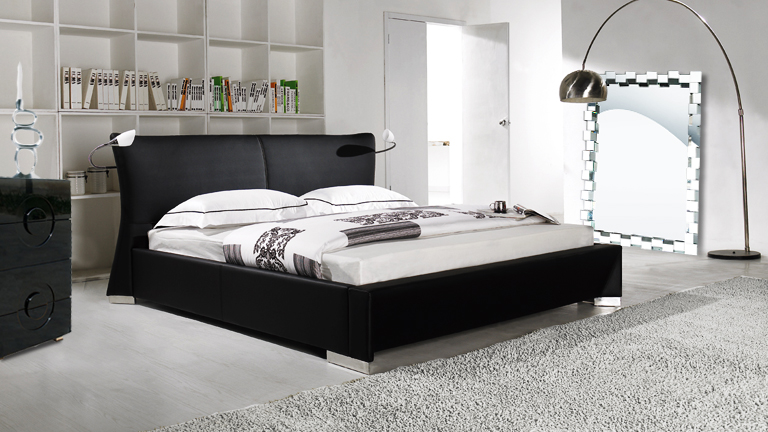 amazing tete de lit chevet integre 6 lit dancer cuir design noir avec eclairage droite gauche. Black Bedroom Furniture Sets. Home Design Ideas