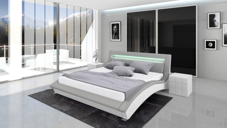 vente achat lit cuir paola lit design en cuir un lit moderne en cuir leds mobilier moss. Black Bedroom Furniture Sets. Home Design Ideas