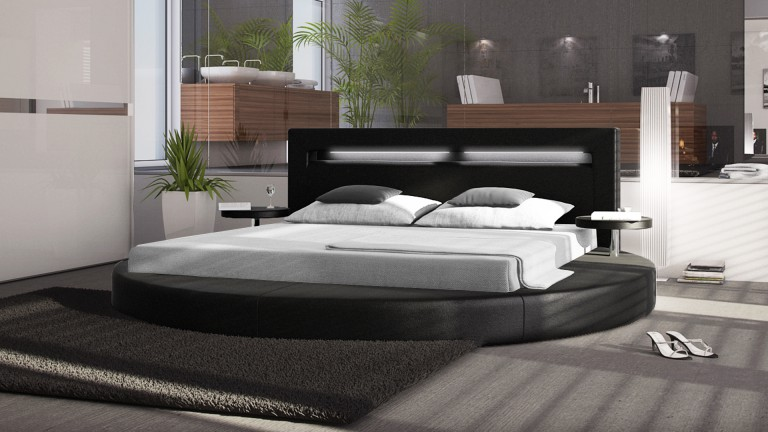 lit rond noely avec chevets int gr s pratique et tendance mobilier moss. Black Bedroom Furniture Sets. Home Design Ideas