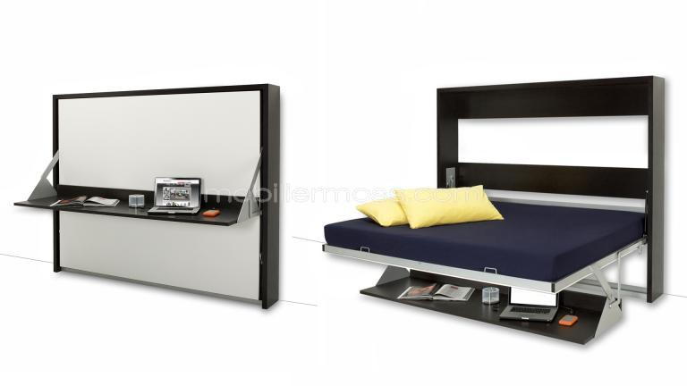 lits donny 140 x 200 avec bureau escamotable un lit. Black Bedroom Furniture Sets. Home Design Ideas
