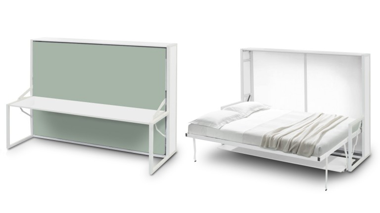 Lit escamotable autoportant beddesk horizontal avec bureau mobilier moss - Lit 2 places escamotable ...