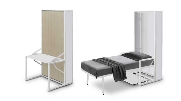 Lit escamotable autoportant beddesk vertical avec bureau for Bureau une place