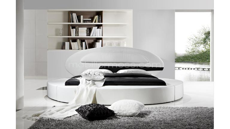 lit rond design en cuir planet un lit en cuir contemporain mobilier moss. Black Bedroom Furniture Sets. Home Design Ideas