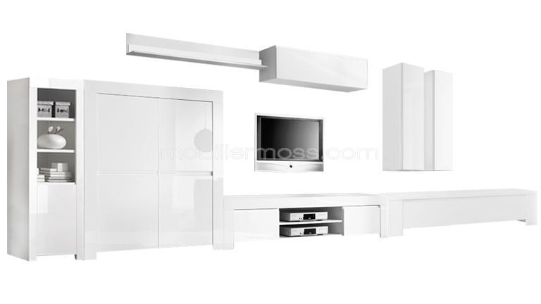 Meuble blanc laqu suspendu buffet bahut design suspendu for Meuble living blanc