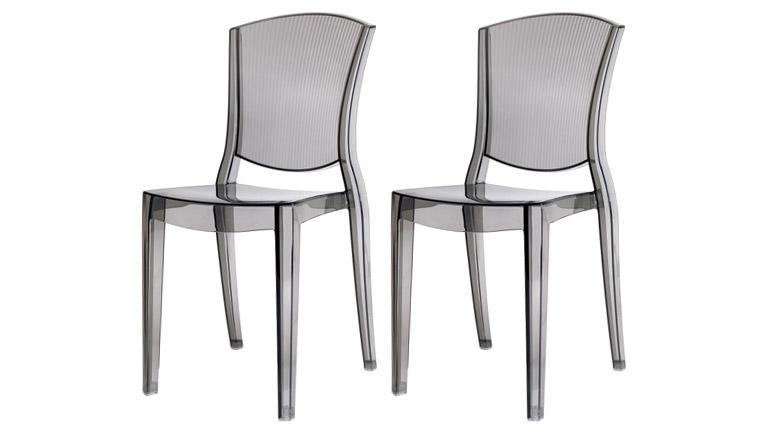 Lot de 2 chaises design empilables transparentes en for Chaise en polycarbonate
