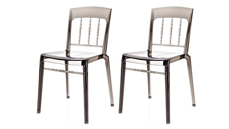 lot 2 chaises polycarbonate design isbella gris fume mobiliermoss