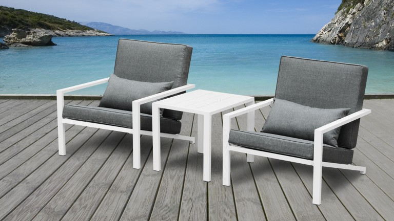 Salon de jardin aluminium blanc teapa compos de 2 for Table basse en aluminium
