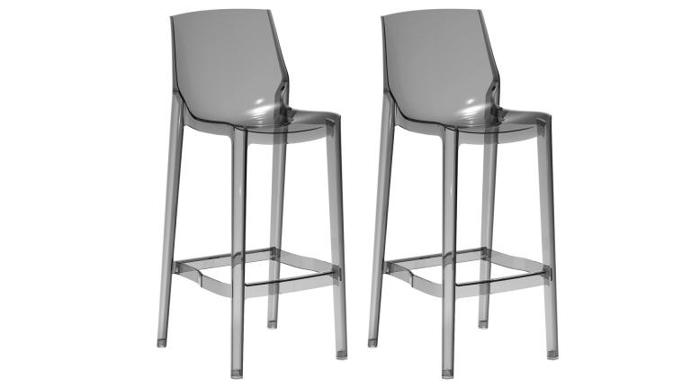 lot 2 tabourets bar polycarbonate gris fume mobiliermoss