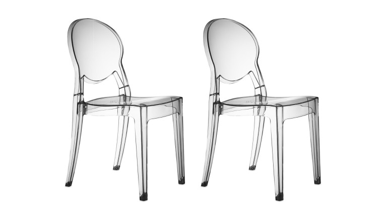 chaises design transparentes par lot de 2, delly - mobilier moss - Chaise Design Plexi Transparent
