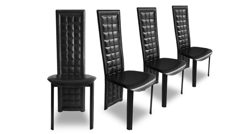 lot 4 chaises design similicuir noir estella mobiliermoss