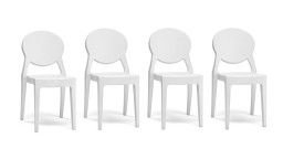 lot 4 chaises plexi design mobiliermoss blanche tendance delly