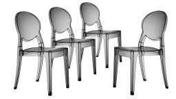Lot de 4 chaises design en plexi transparent - Delly