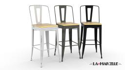 Lot de 4 tabourets tole industriel pour bar- La Marcelle
