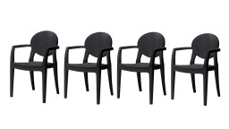 lot 4chaises medaillon design plexi noir luisa mobiliermoss