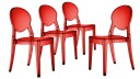 lot 4chaises plexi transparent rouge design tendance delly mobiliermoss