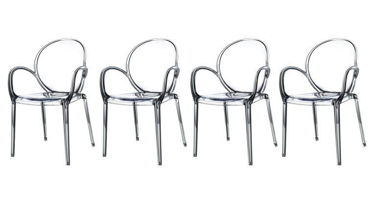 lot de 4 chaises transparentes rosy