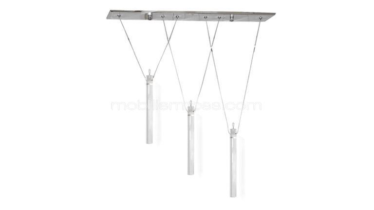 lustre design 3 pampilles crystal trio