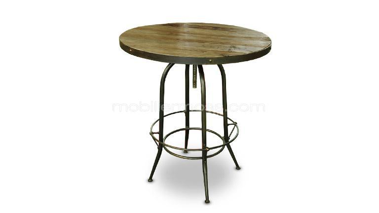 Table haute reglable plateau rond bois design insdustriel for Table ronde de bar