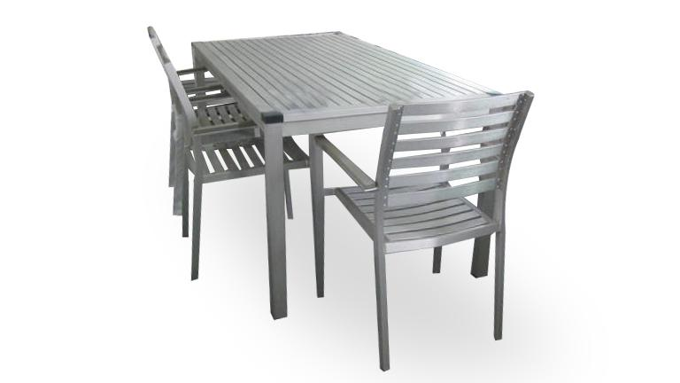 marica ensemble table chaise de jardin en aluminium mobiliermoss