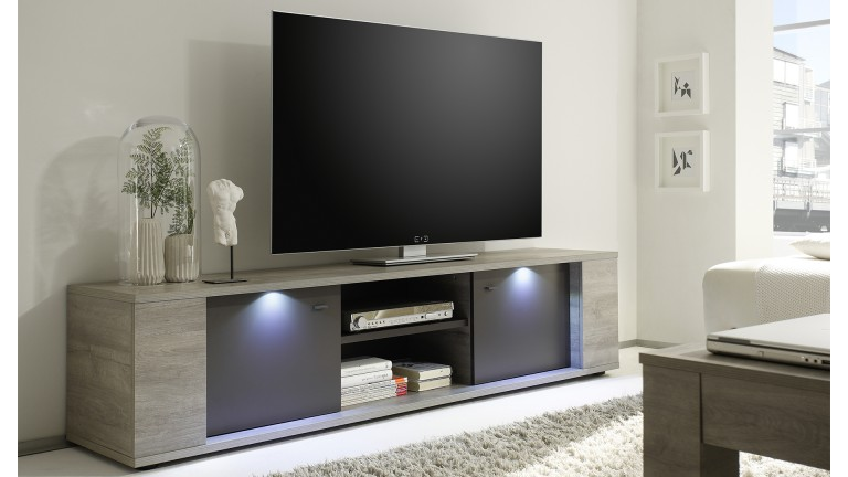 meuble TV 2portes bois gris eclairage led salon shepparton mobiliermoss