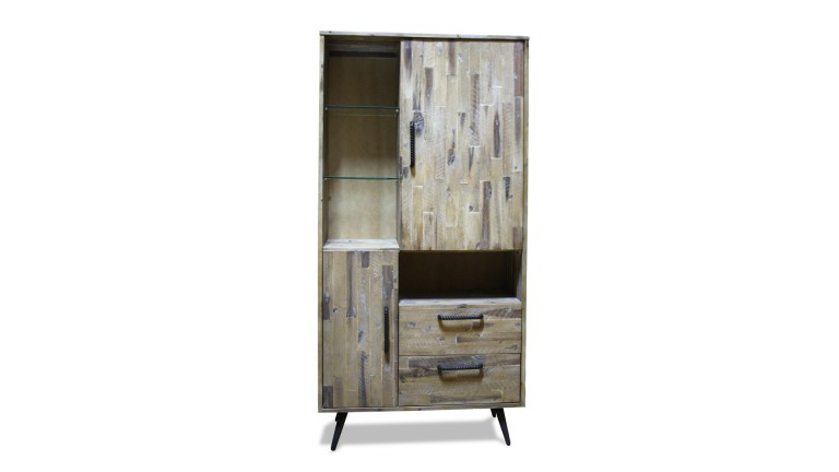 armoire biblioth que en acacia bodenn rangement 2 portes 2 tiroirs mobilier moss. Black Bedroom Furniture Sets. Home Design Ideas