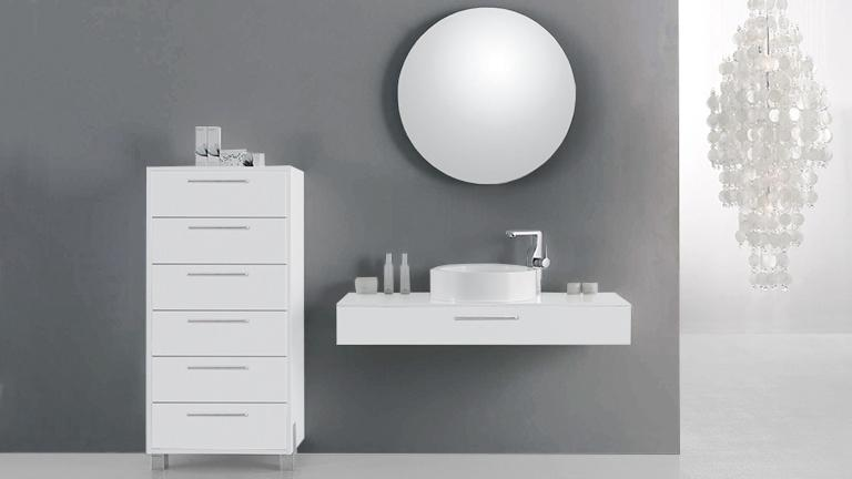 Ensemble de salle de bain simple vasque vecchio mobilier for Meuble salle de bain suspendu blanc