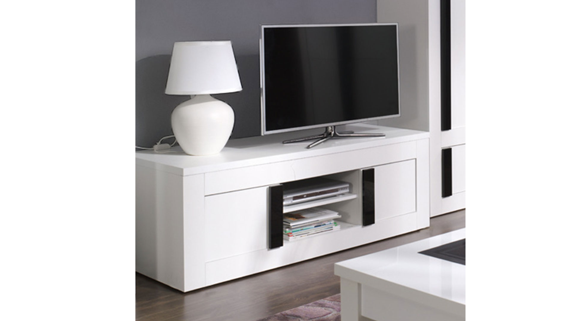 Meuble tv blanc laqu fly large size of moderne und meuble for Meuble tv noir laque fly