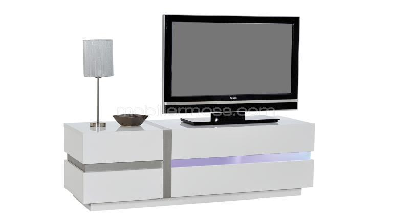 Meuble tv design avec clairage led cross blanc laqu for Meuble tv blanc laque suspendu