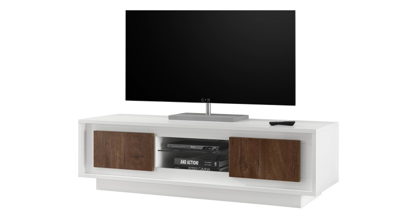 meuble tv solna 2 portes bois fonc structure laqu e blanc. Black Bedroom Furniture Sets. Home Design Ideas