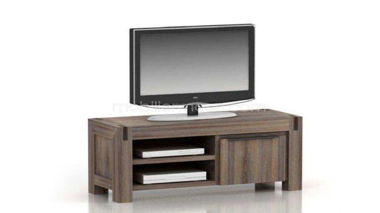 Meuble tv design en bois massif 1 porte cirilla mobilier for Meubles modernes et contemporains