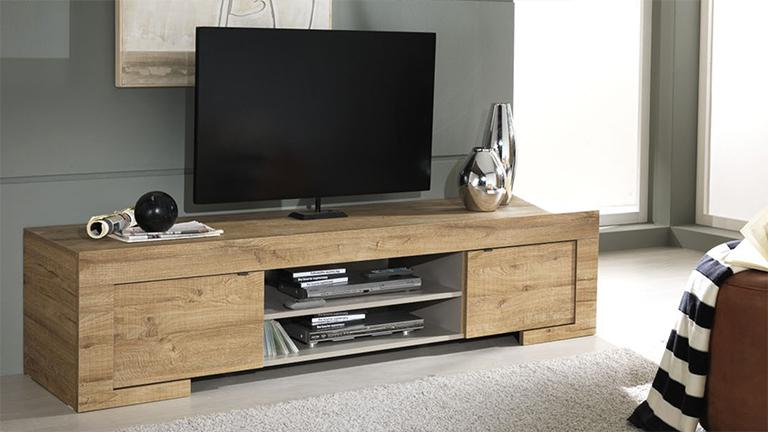 Meuble tv design en bois 2 portes emiliano mobilier moss for Table de television en bois