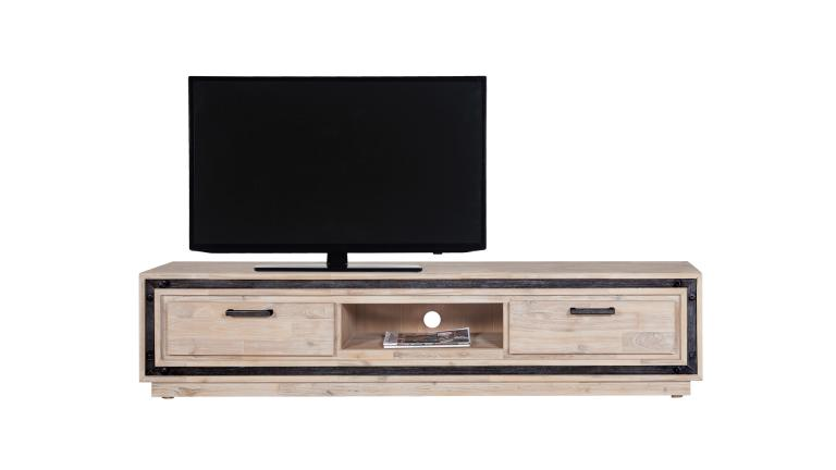 meuble tv bois massif acacia et m tal bross amylton mobilier moss. Black Bedroom Furniture Sets. Home Design Ideas