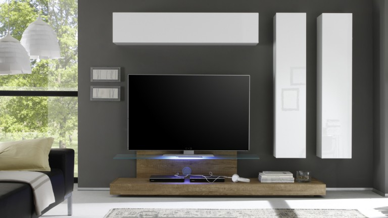meuble tv linery avec plateau verre r tro clair mobilier moss. Black Bedroom Furniture Sets. Home Design Ideas