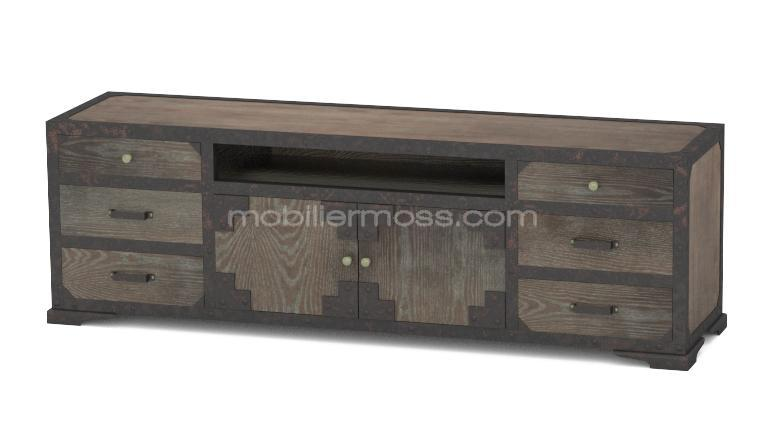 Mueble de tv de estilo industrial en madera y metal for Muebles diseno industrial vintage