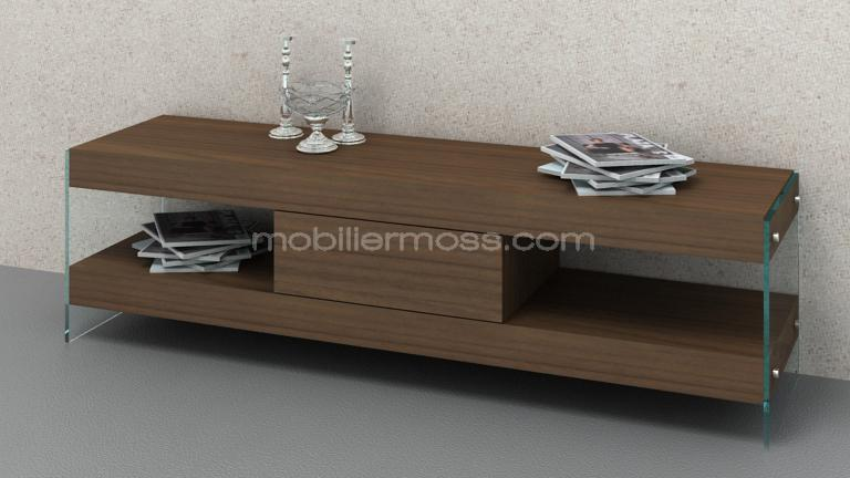 meuble tv crystalline noyer mat moderne mobiliermoss