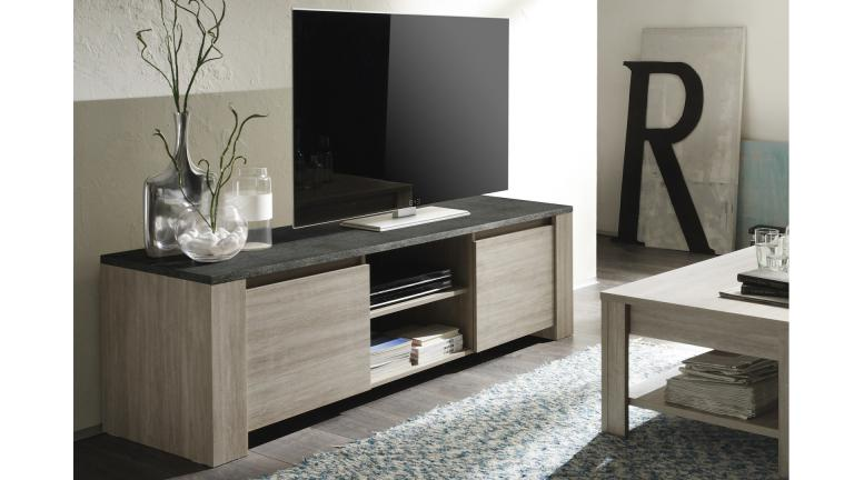 meuble tv eblano avec option plateau imitation ardoise. Black Bedroom Furniture Sets. Home Design Ideas