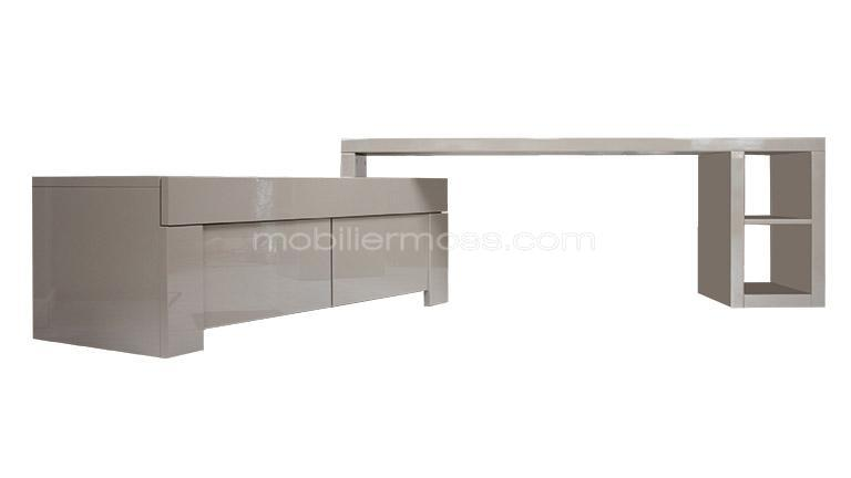 Meuble tv galaxy laqu modulable mobilier moss - Meuble tv taupe design ...