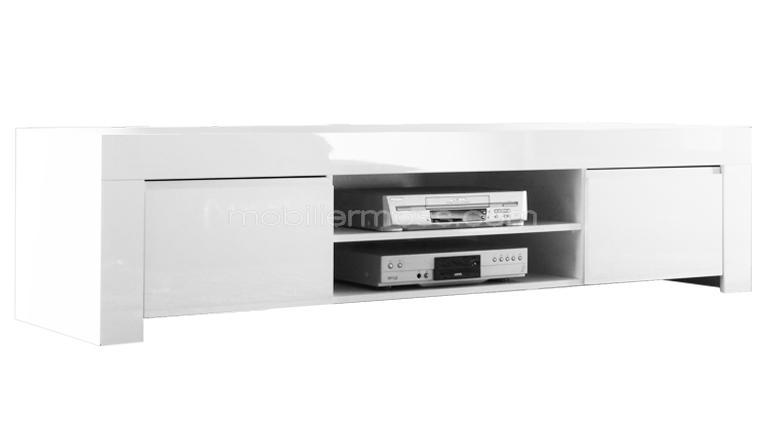 Meuble tv moderne laque blanc extensible new york for Grand meuble tv blanc laque