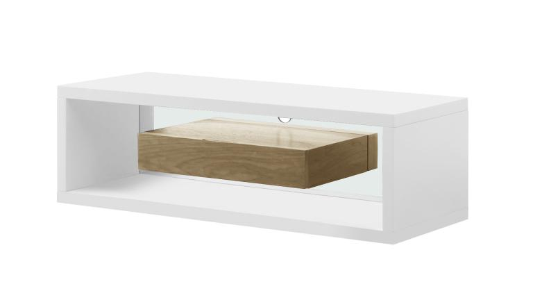 Meuble tv blanc et bois friendly mobilier moss for Meuble tv suspendu bois