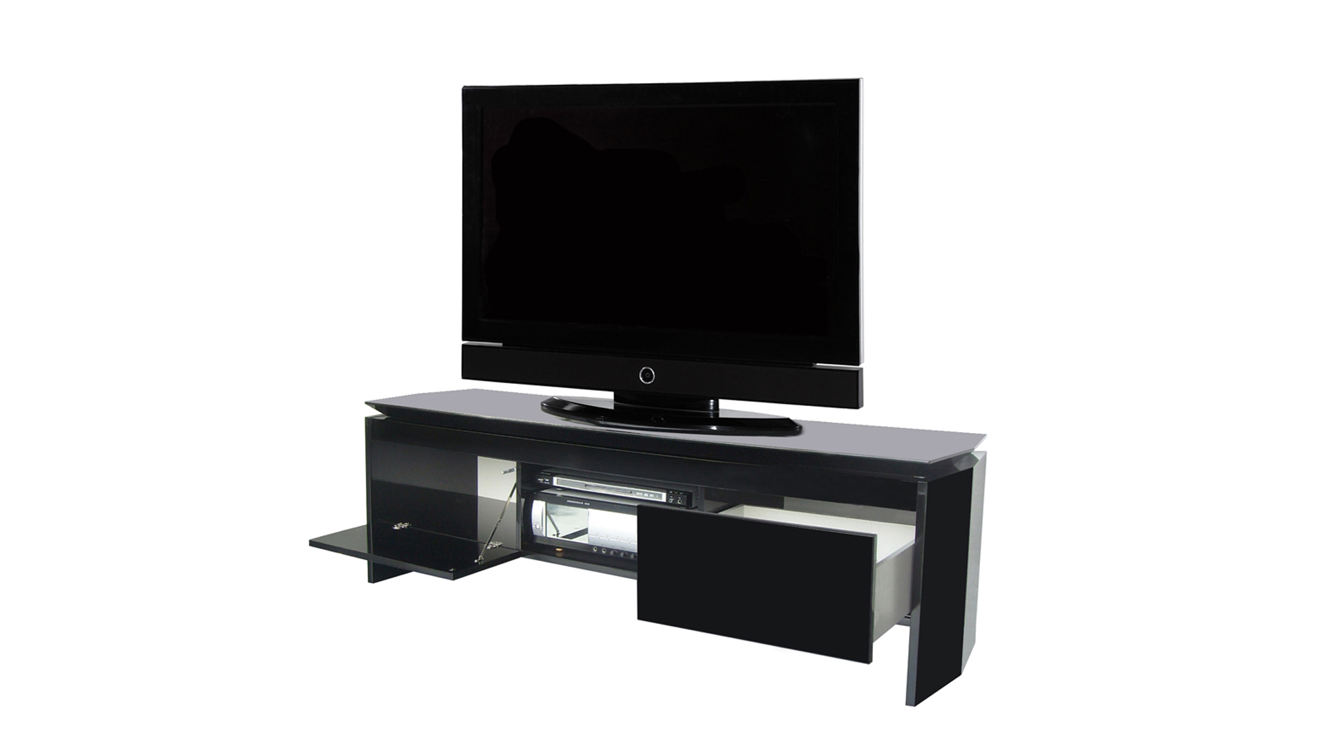 meuble tv noir plateau tournant sammlung. Black Bedroom Furniture Sets. Home Design Ideas