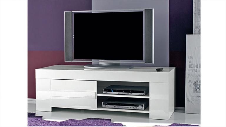 meuble tv design laqu blanc 140 cm magao mobilier moss
