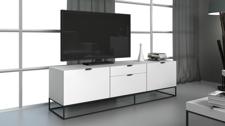 meuble tv kufstein blanc avec pi tement en m tal noir mobilier moss. Black Bedroom Furniture Sets. Home Design Ideas