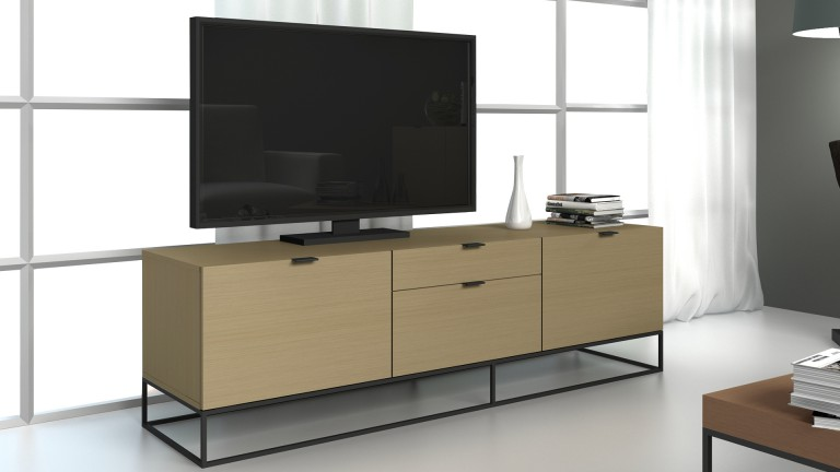 meuble tv kufstein bois avec pi tement en m tal noir mobilier moss. Black Bedroom Furniture Sets. Home Design Ideas