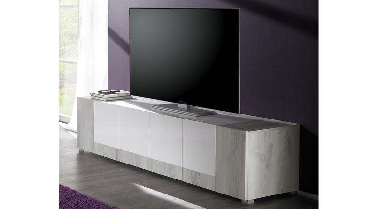 meuble tv blanc et bois clair. Black Bedroom Furniture Sets. Home Design Ideas