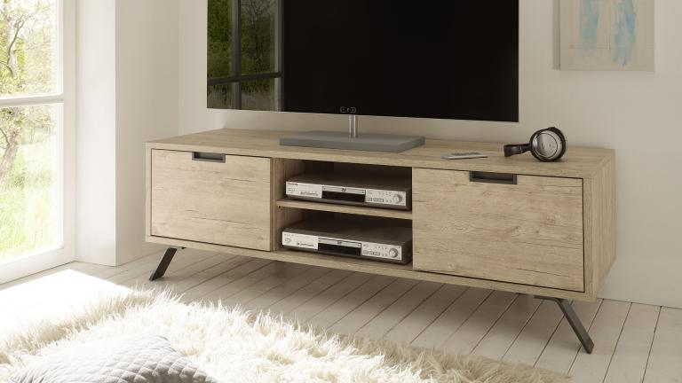 meuble tv design nekho bois avec pied m tal mobilier moss. Black Bedroom Furniture Sets. Home Design Ideas