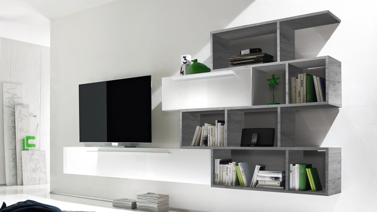 Mueble tv de pared lacado blanco con biblioteca athy for Meuble tele suspendu