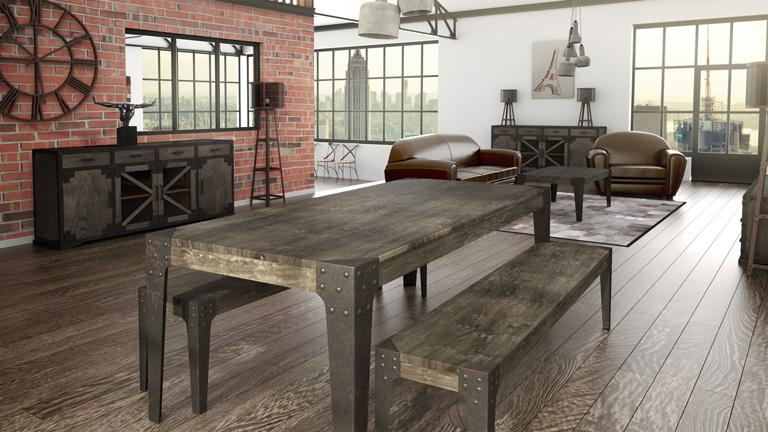 Salle manger compl te chicago au design industriel for Table sejour industriel