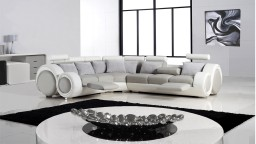 mobiliermoss canape angle relaxation cuir pierce gris blanc appuie tete repose pieds